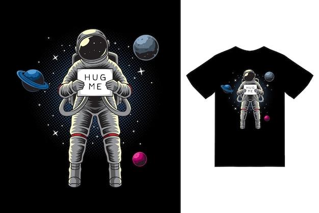 Astronaute tenant une planche dans l'illustration de l'espace avec un vecteur premium de conception de tshirt