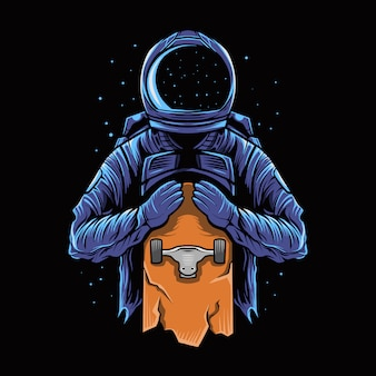 Astronaute tenir sur une planche à roulettes sur dark