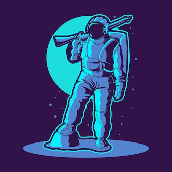 L'astronaute tient un tireur d'élite sur l'illustration de l'espace