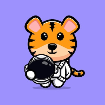 Astronaute tigre mignon avec mascotte de dessin animé de casque