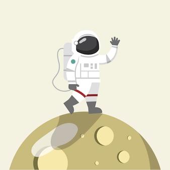 Astronaute sur le vecteur de la lune
