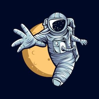 Astronaute volant sur l'espace avec illustration de fond de lune
