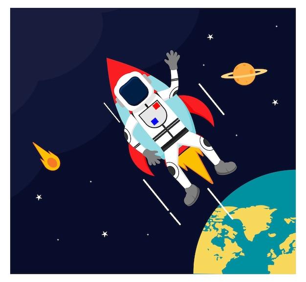 L'astronaute vole avec un vaisseau spatial dans un design plat de l'espace extra-atmosphérique