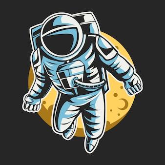 Astronaute, voler, espace, lune, conception