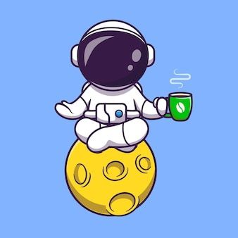 Astronaute yoga sur la lune avec café cartoon vector icon illustration. science sport icône concept isolé vecteur premium. style de dessin animé plat