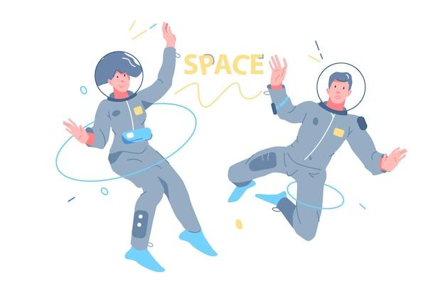 Astronautes homme et femme explorant l'illustration vectorielle de l'espace extra-atmosphérique. les gens en combinaison spatiale volent dans un style spatial plat. vol spatial humain, concept de nouveaux horizons et découvertes. isolé sur fond blanc