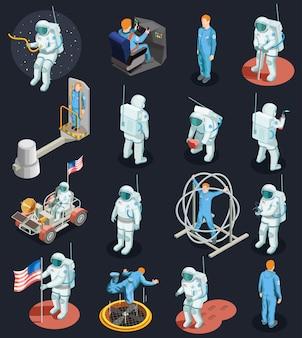 Astronautes isometric characters set