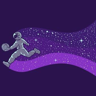 Astronautes jouant au basket isolés en violet