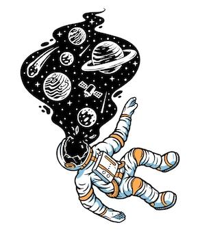 Les Astronautes Meurent Dans L'illustration De L'univers Vecteur Premium
