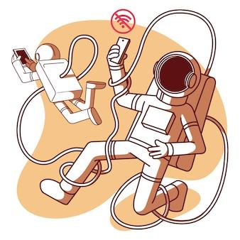Astronautes sans illustration wifi