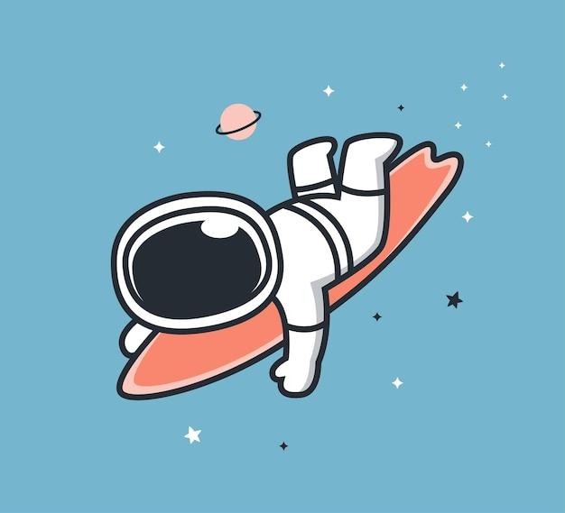 Astronautes surfant dans l'espace