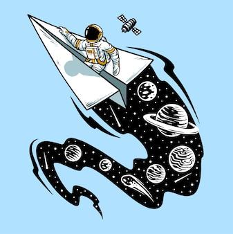 Astronautes volant sur illustration de navires avion en papier