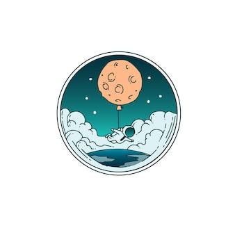 Les astronautes volent avec des ballons de lune dans l'espace