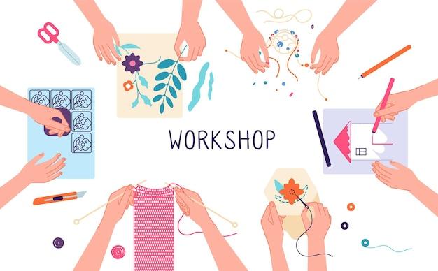 Atelier artisanal. créez des projets de tricot, de dessin et de scrapbooking.