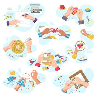 Atelier d'artisanat d'art pour passe-temps créatif, mains d'artisan vue de dessus creat artisanat artistique, sur un ensemble d'illustrations blanches. découpe, peinture et tricot, broderie, applique, sciage.