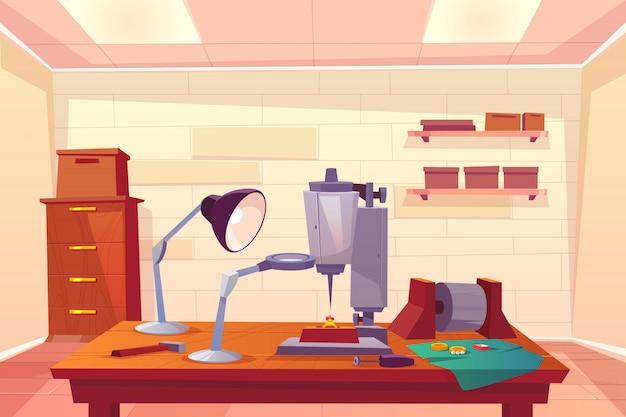 Atelier de bijoutier, dessin animé d'atelier de réparation de bijoux