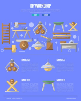 Atelier de bricolage en bois dans un style plat