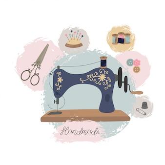 Atelier de couture ou atelier de couture. machine à coudre vintage dessinée à la main.