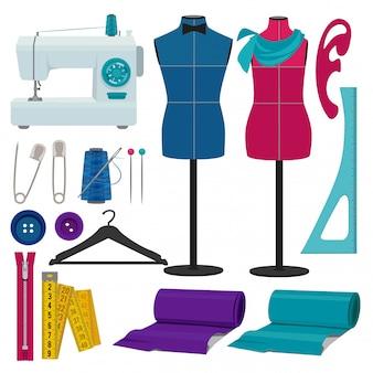 Atelier de couture avec outils de couture