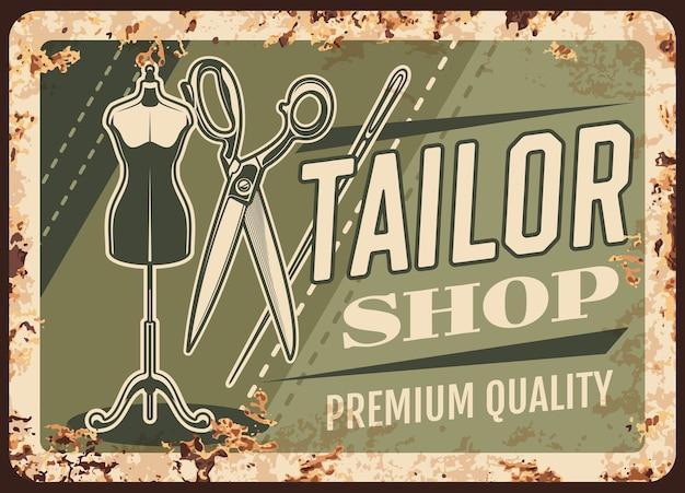 Atelier de couture plaque de métal rouillé, atelier de couture et de couture, affiche rétro.