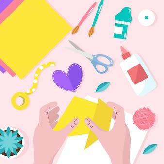 Atelier créatif bricolage design plat