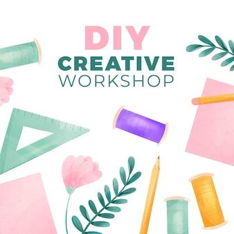 Atelier créatif bricolage avec fil et crayons