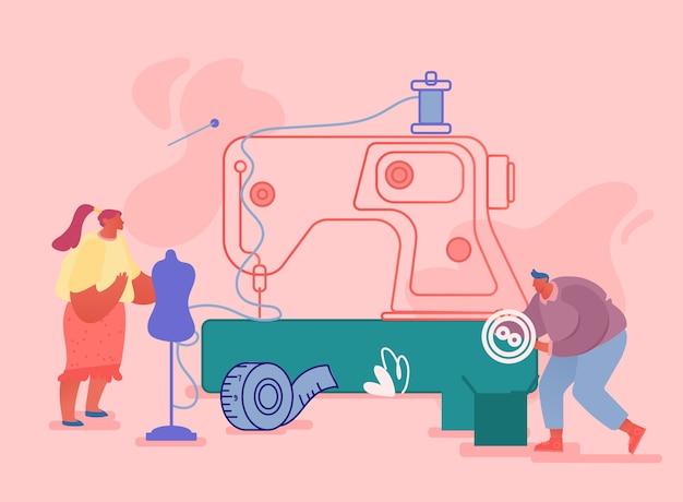 Atelier créatif, concept d'entreprise de métier textile sur mesure.