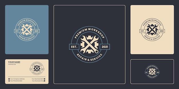 Atelier, garage, emblème mécanicien logo design badge style vintage