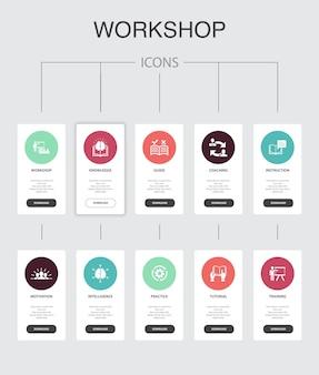 Atelier infographie 10 étapes ui design.motivation, connaissances, intelligence, pratique des icônes simples