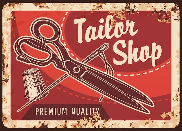 Atelier de tailleur en métal rouillé, outils de couture