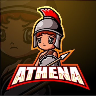 Athena mascotte esport illustration