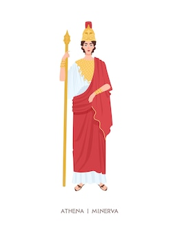 Athene ou minerva - ancienne déesse grecque ou romaine associée à la sagesse, à l'artisanat et à la guerre. jeune guerrière mythique isolée sur fond blanc. illustration vectorielle de dessin animé plat.