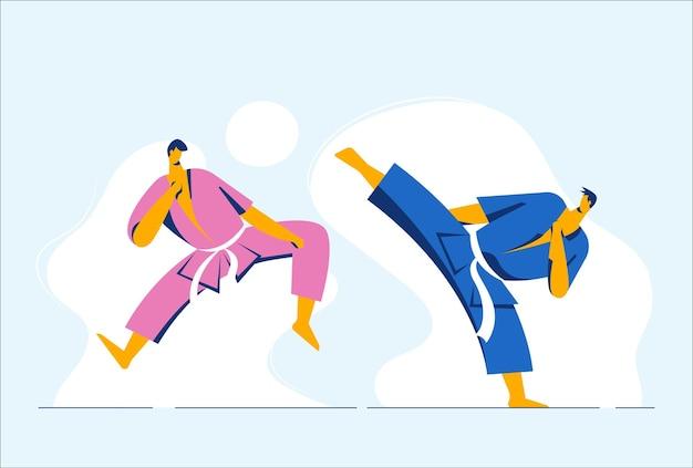 Athlète combattants de taekwondo.