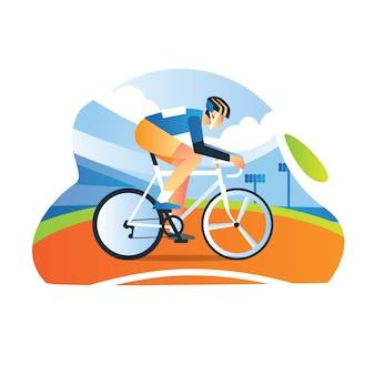 Athlète cycliste pratique dans le sport de vélo de vélo vélodrome