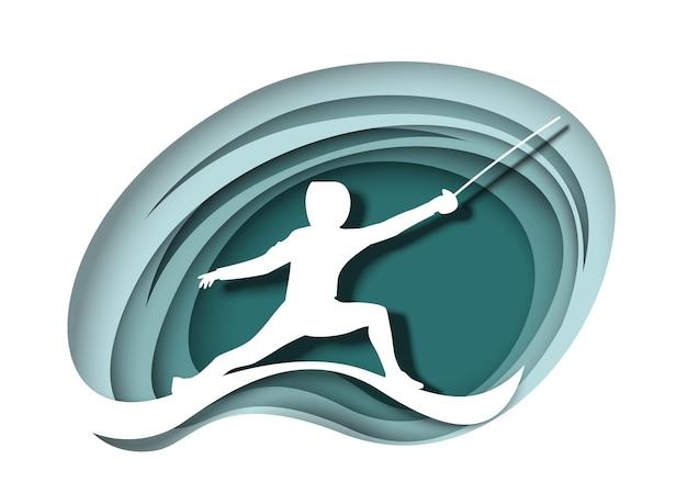 Athlète escrimeur avec épée silhouette blanche vecteur papier découpé illustration escrime sport compétition s...