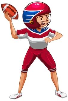 Athlète faisant du football américain sur blanc