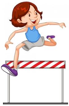 Athlète faisant sauter sur fond blanc