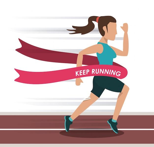 Athlète féminine courir dans la piste et traverser la ligne d'arrivée