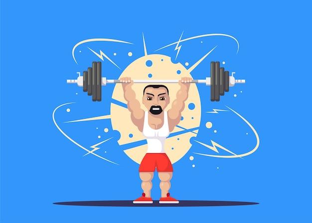 Athlète d'haltérophilie avec barbillon faisant squat et secousse. concept d'entraînement de gym. conception de personnage de style plat.
