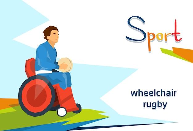 Athlète handicapée joue au rugby en compétition de sport en fauteuil roulant