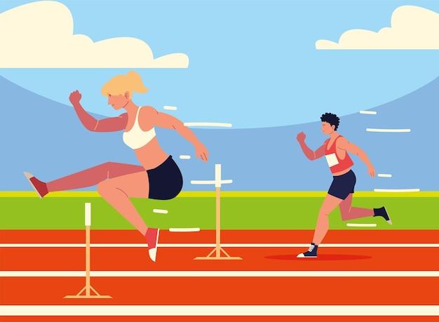 Athlète homme et femme sport d'obstacles
