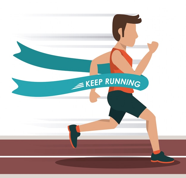 Athlète masculin courant dans la piste et traversant la ligne d'arrivée