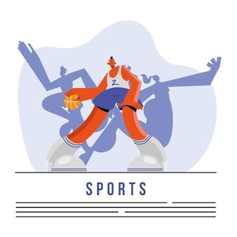 Athlète masculin pratiquant le caractère sportif de basket-ball et la conception d'illustration de lettrage