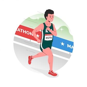 Un athlète participe à un marathon annuel dans la ville