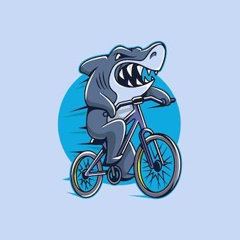 Athlète, requin, dessin animé, caractère, cyclisme, vecteur