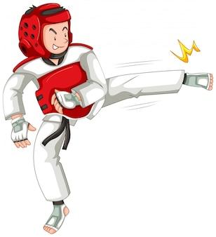 Un athlète de taekwondo