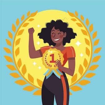 Athlète tenant # 1 illustration de la médaille d'or