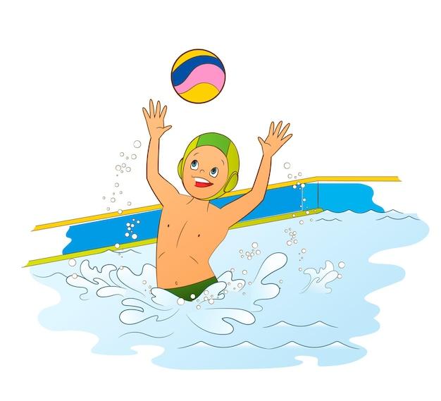 Un athlète en water-polo un adolescent joue une balle dans la piscine illustration vectorielle en style cartoon