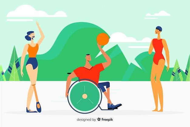 Athlètes handicapés caractères dessinés à la main