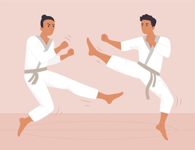 Athlètes hommes de jiu-jitsu combattant